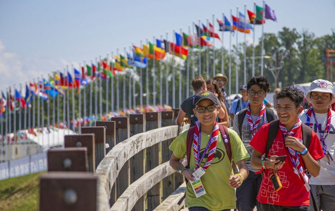 Scouts and visitors are crossing the bridge at World Point during the 24th World Scout Jamboree on Monday, July 29, 2019. Check out other photos and videos at http://bit.ly/WSJ2019 (Photo by Jeroen Appel) ..